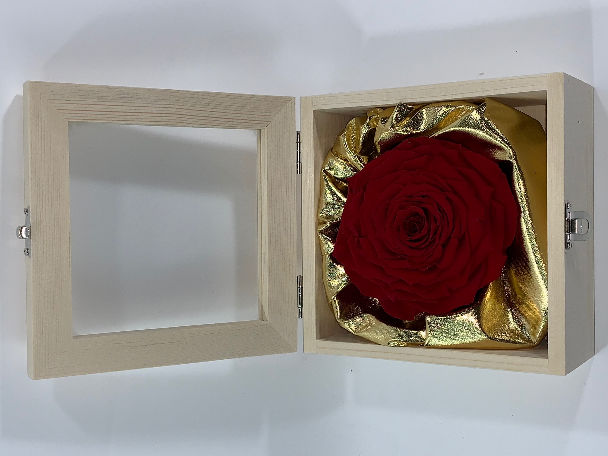 Valentine Box XXL Last4ever Real Rose (wood/gold)