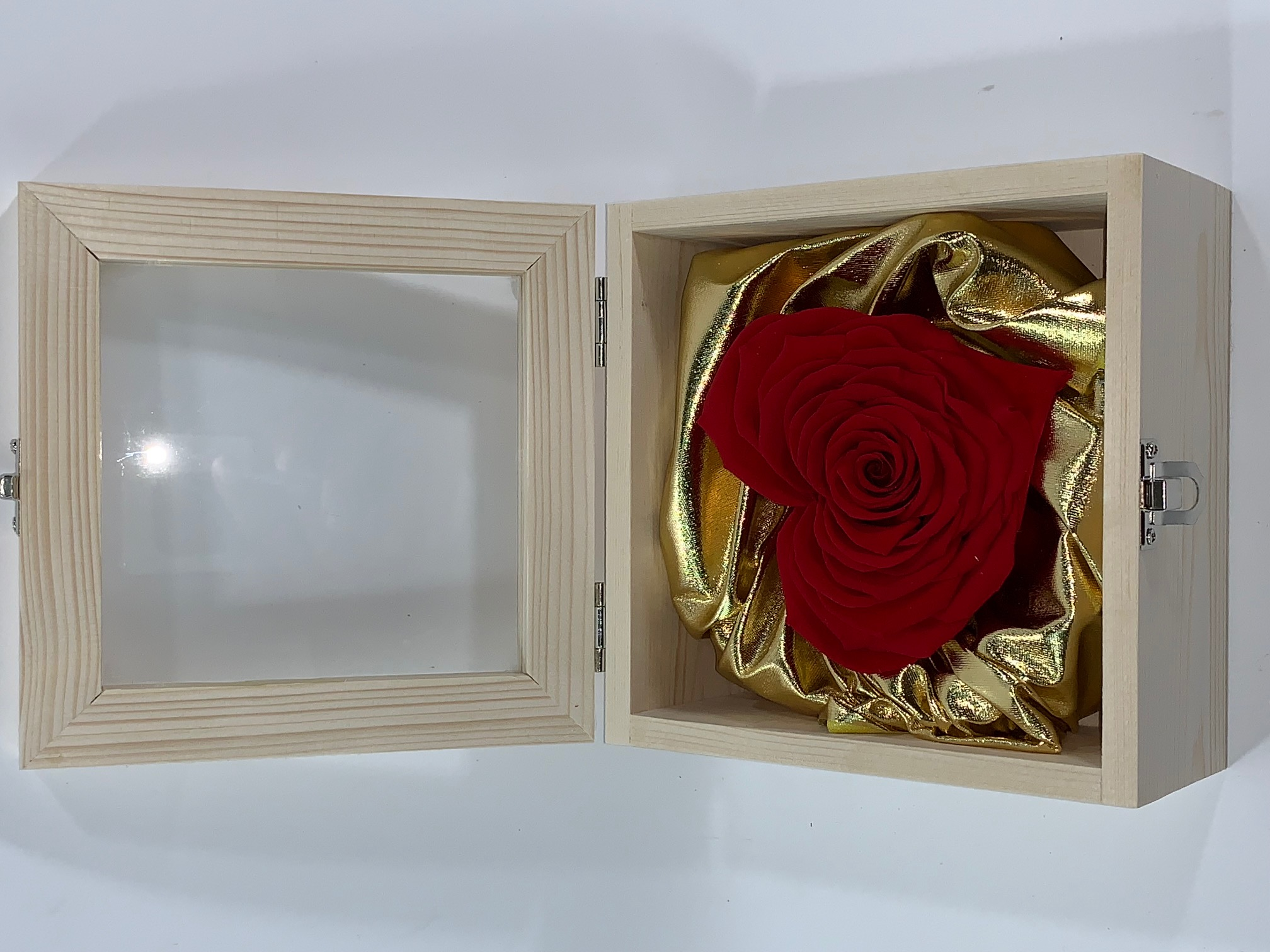 Valentine Box XXL Last4ever Real Heart Rose (wood/gold)