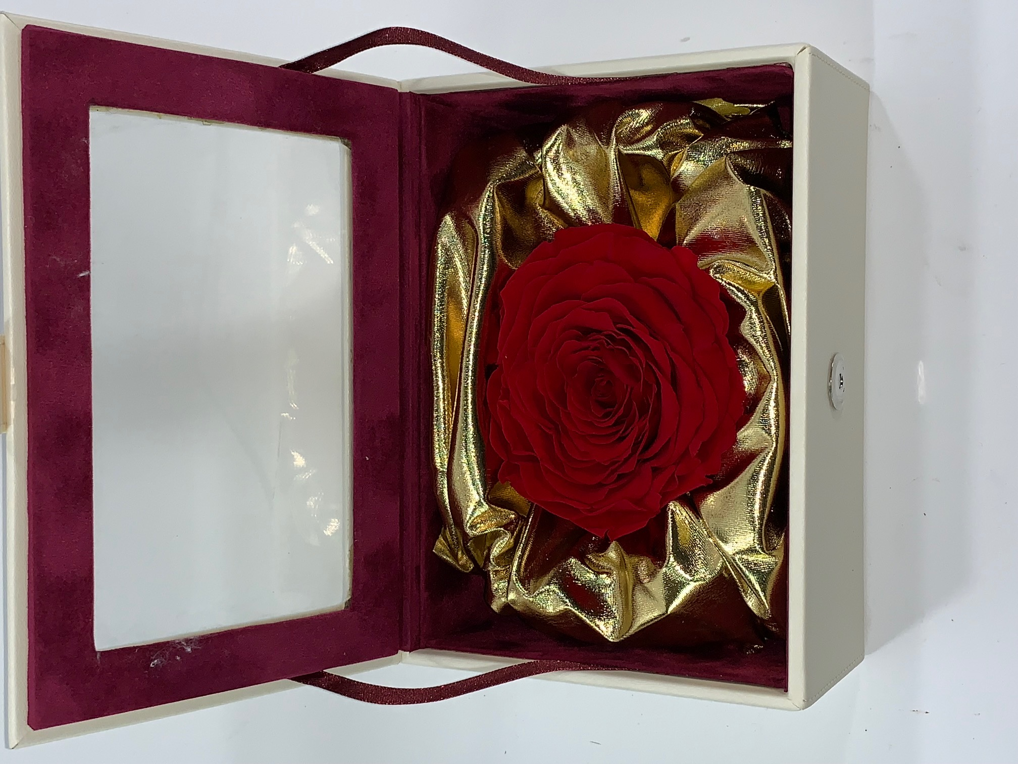 Valentine Box XXL Last4ever Real Rose (White-luxury/gold)