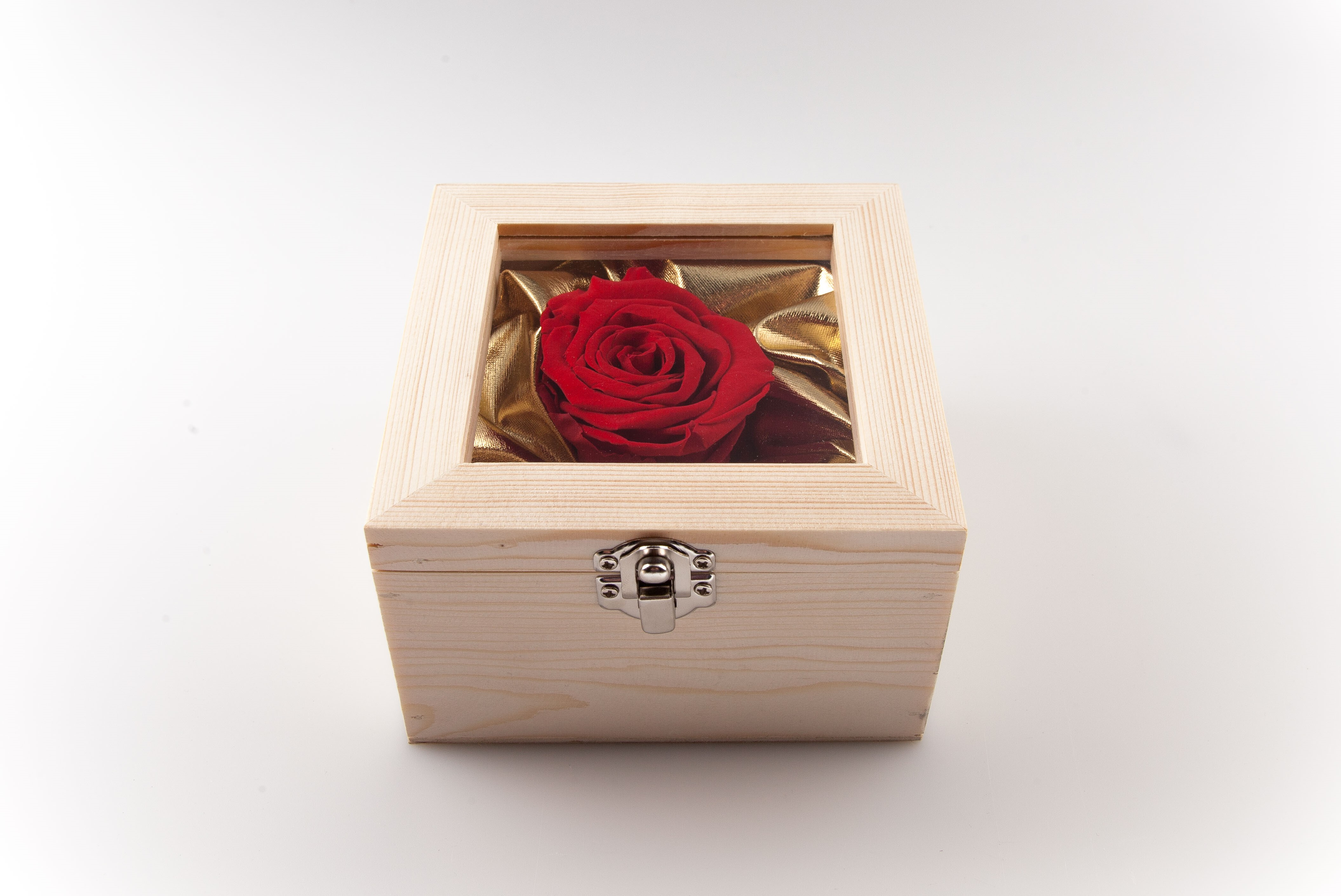 Valentine Box XL Last4ever Real Rose (wood/gold)