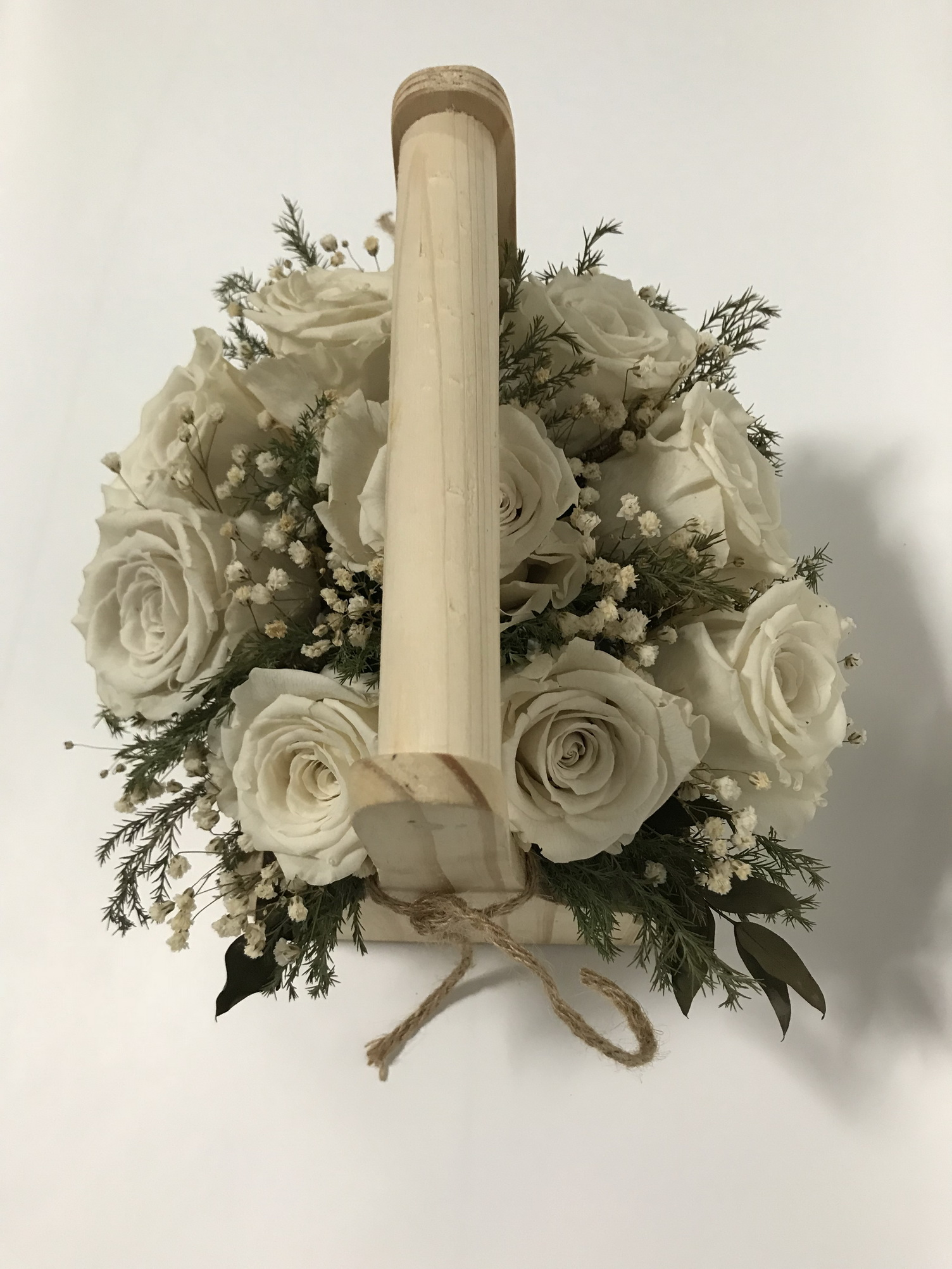 Last4ever Real Roses Woodenbasket with 9 Roses