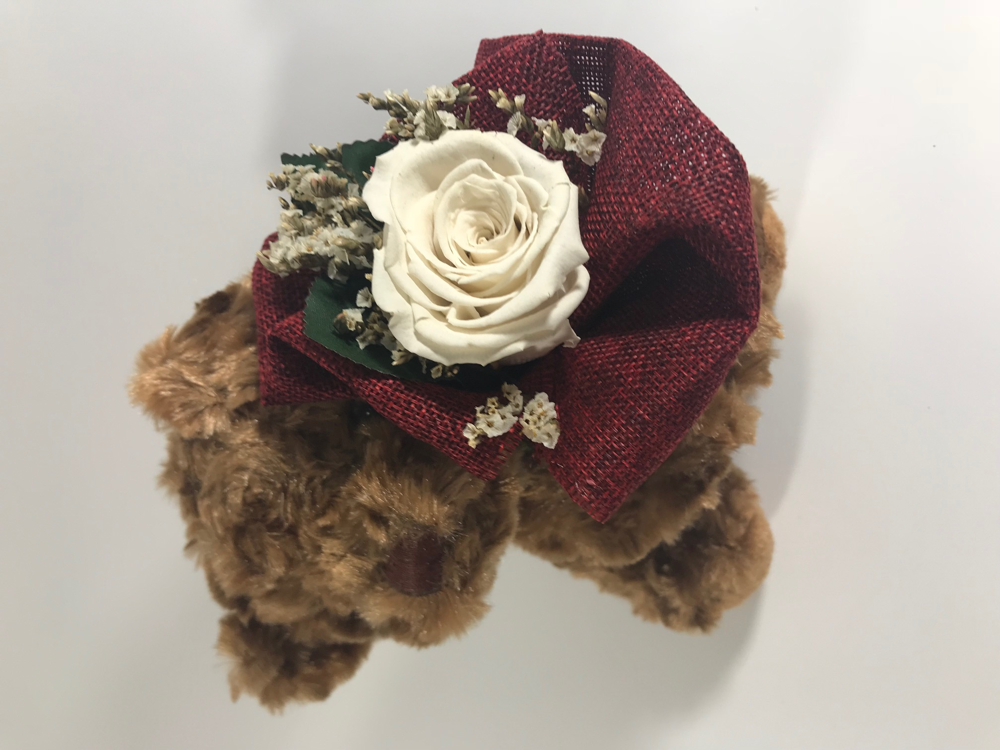 Brown Bear (18cm) with Last4ever Real Rose