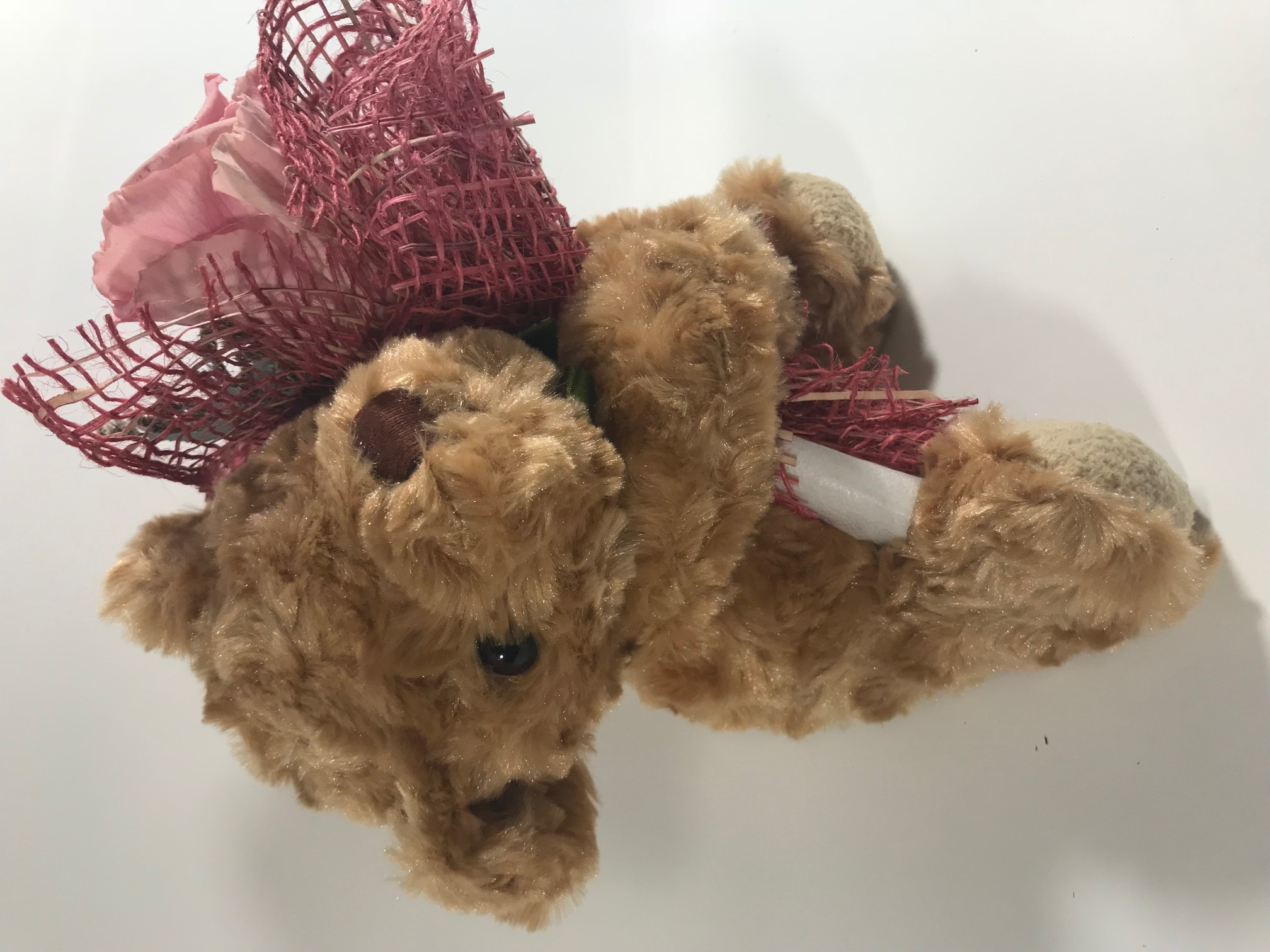 Lightbrown Bear (18cm) with Last4ever Real Rose